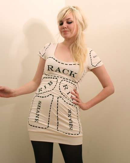 Creme Cuts of Meat Dress