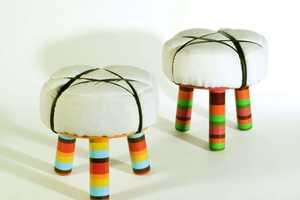 The Axum and Lalibella Stools by David Keller are Colorfully Cute