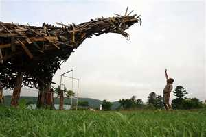 The 'Vermontasaurus' by Brian Boland is a Recycled Work of Art