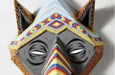 Tribal Rhino Masks - Trent Whitehead Designs Colorful, Enticing Wooden Masks