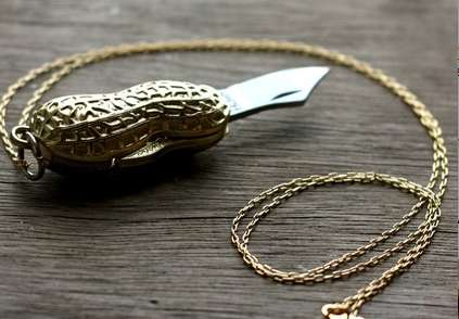 Nutty Pendant Knives - The Golden Peanut Pocket Knife Necklace is Dangerously Cute