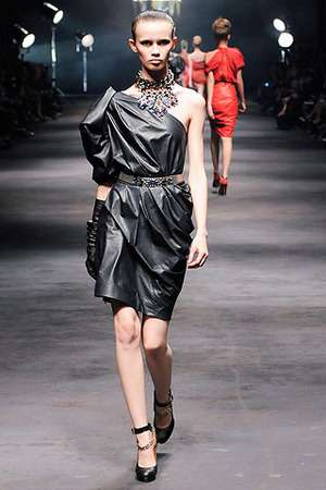 lanvin spring 2010 one-shoulder calfskin