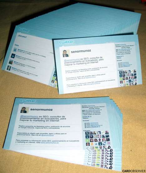 Social Media Layout Cards - The Twitter Business Card Helps You Promote Yourself in a Stylish Way