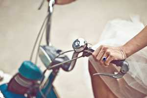 The 'Ines & His Solex' Shoot Features a Blushing Bride & a Blue Bike