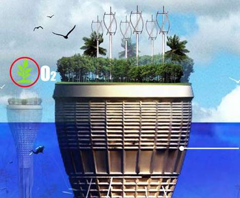 Self-Sufficient Underwater Architecture -  HO2 Scraper Harvests Renewable Energy to Grow Food