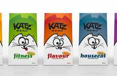Adorable Pet Food Packaging - The Katz Menu Features Different Types of Cats