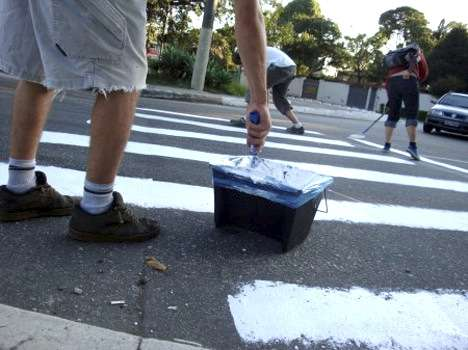 Brazilian Activists Painted Guerrilla Pedestrian Lines
