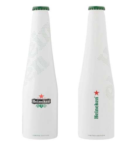 Minimalist Beer Bottles - The Heineken Icone Pure Packaging Keeps it Simple with White