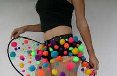 Neon Pom Pom Skirts - Katie's POOFskirts Looks Like Rad Wearable Constellations