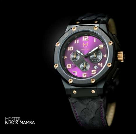 Slithering Sports Star Watches - The Black Mamba Ambassador has Snakeskin on the Strap