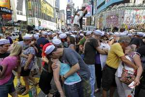 Crowd Gathers for Times Square VJ Day Reenactment