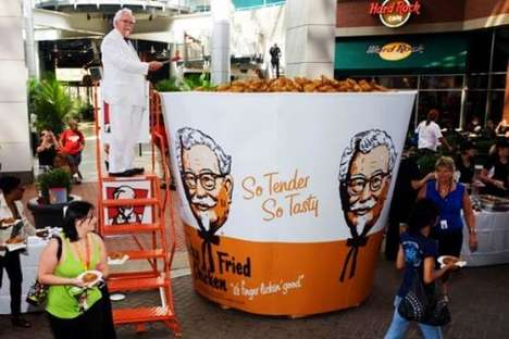 Record-Breaking Chicken Buckets - The KFC Gigantic Bucket of Chicken Weighs Over a Ton