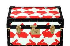 Cutsey Travel Cases - The Kissing Rabbits Tuck Box is Funny Bunny Baggage