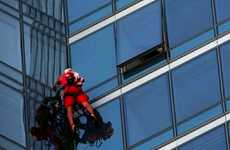 Wall-Crawling Superhumans - 'Skyscraperman' Ascends a Building Using Suction Cups