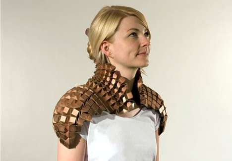 Metallic Shoulder Art - 'Wearable Metal Origami' by Tine de Ruysser is Form-Fitted