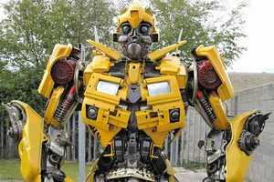 The Robosteel Bumblebee Transformer Sculpture is Seven Feet Tall