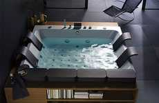 Luxury Bookworm Bathtubs - Thais Art Tub Features Waterjetted Bathing and Book Storage