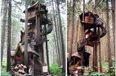 Fairytale Tree Houses - The 'Enchanted Forest' Wooden Tree House is Truly Overwhelming