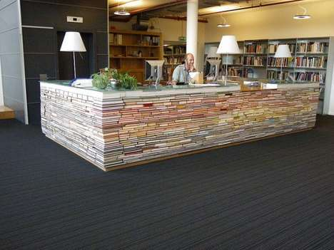 Book Brick Desks - The Recycled Book Reference Desk at the Delft University of Technology