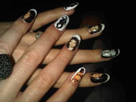 Obsessive Boyfriend Manicures - Katy Perry Wears Russell Brand's Face All Over Her Nails