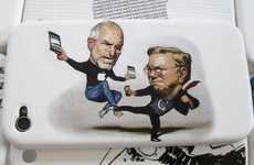 Caricature Phone Protectors - The Steve Jobs vs Bill Gates iPhone 4 Leather Case is Hilarious