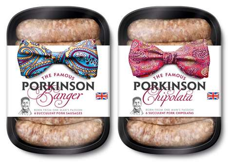 Dapper Bowtie Bratwursts - The JKR Porkinson Sausage Package Redesign is Adorable