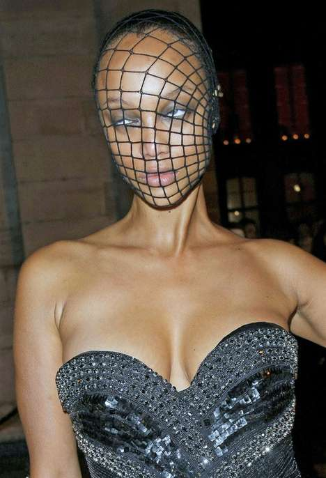 Stocking Face Masks - The Tyra Banks Fishnet Mask Worn at French Vogue Masquerade Ball