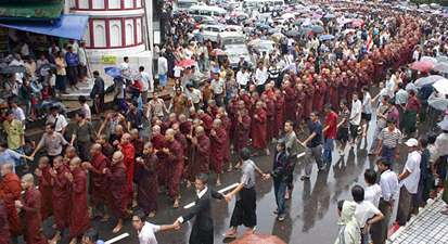 Thousands of Activist Buddhist Monks Lead Coup D