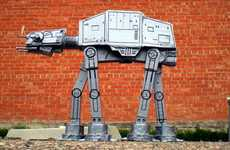 A Handcrafted Duct Tape AT-AT Model Excites Jedis