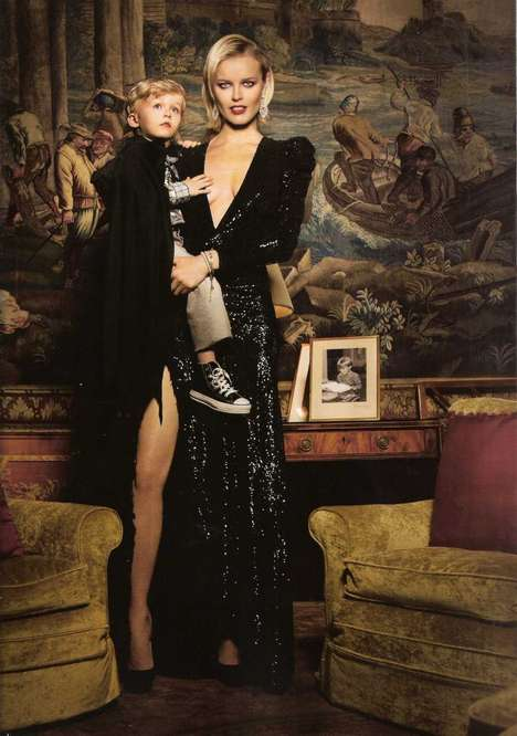 Familial Fashions - Eva Herzigova and Son Pose for Vogue Espana Ninos FW 2010-11