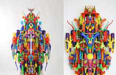 Colorful Toy Sculptures - Hideki Kuwajima Creates Complex Sculptures from Found Objects