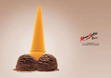 Phallic Ice Cream Ads - 'Kama Sutra Excite' Advertises New Flavored Dotted Condoms