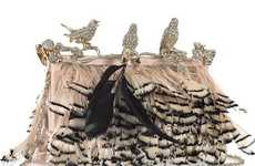 Feather-Covered Handbags - The Valentino Crystal-Embellished Feather Clutch Oozes Avian Luxury