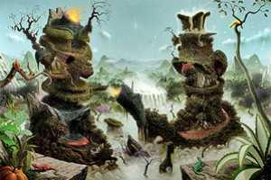 Fulvio Di Piazza Illustrates Freaky Mutant Trees and Billowing Volcanoes