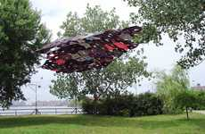 Wayward Umbrella Sculptures - 'Penumbra' from Jean Shin is a Massive Rain Shield