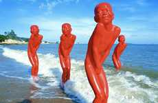 Macabre Mannequin Installations - The Chen Wenling 'Red Memory' Installation of Emotional Statues