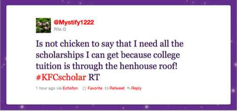 Twitterific Cash Scholarships - KFC Giveaway of $20,000 to the Best High School Tweeter
