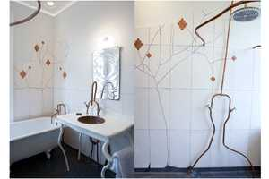 This Amsterdam Bathroom by Bo Reudler Branches on an Organic Style