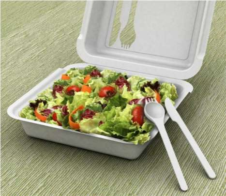 Eco-Friendly Takeout - The Green Box Builds Cutlery Right into its Packaging