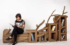 Fallen Log Seating - Toby Horrocks' Freefold Furniture Features a Seat-Bookshelf Hybrid