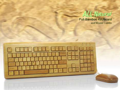 All Natural Full Bamboo Keyboard and Mouse Combo