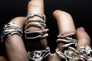 Elvish Rings by Joanna Szkiela Feature Naturally-Faceted Herkimer Diamonds