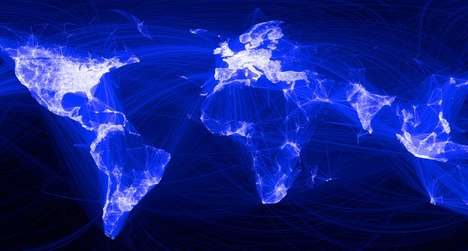 Social Media Friend Maps - Facebook Map Highlights the World's Relationships