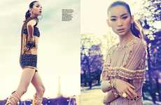 Gilded Cleopatra Fashion - Kiki Kang Poses for Harper's Bazaar Singapore