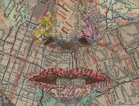 ARTIST USES MAPS AS PAINTING & COLLAGES
