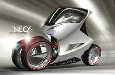 Sci-Fi Crotch Rockets - Grab the Attention of Passerby with the Badass Eco NEOS Motorcycle