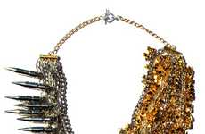 Golden Spiked Jewelry - Amanda Assad Mounse's Jewelry Collection is Glamorously Hot