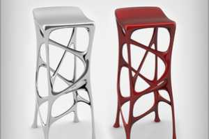 Aluminum Bar Stools by Michael Stolworthy are Fluid & Flowing