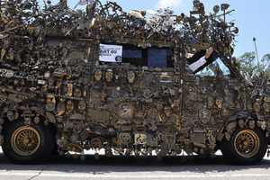 The Brass Van is Covered with 5,000 Pieces of Metal