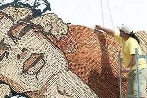 Saimir Strati's Wine-Bottle Cork Art is a Wondrous Wooden Wall Painting